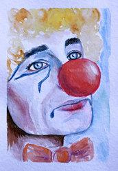 Ritratto clown triste acquerello originale