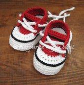 Scarpine/sneakers bambino cotone rosso/bianco/nero - fatte a mano - uncinetto