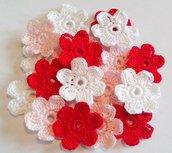 Fiori a uncinetto per applicazioni / Uncinetto fiori applicazioni fiori Set di 18 fiori uncinetto 6 petali /Scrapbooking/Rosa Bianco Rosso