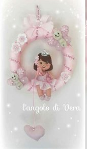 Fiocco nascita coccarda rosa  principessa bambina