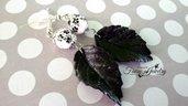 Orecchini foglie fimo fatte a mano perle porcellana idea regalo ragazza donna gioielli artistici artigianali