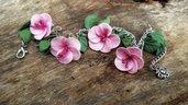 Bracciale fiori rosa verde foglie gioielli artistici artigianali moda bigiotteria idea regalo
