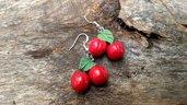 Orecchini ciliegie frutta estate moda idea regalo fatto a mano in fimo