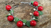 Bracciale ciliegie foglie modellate a mano gioielli artistici artigianali