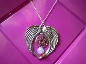 collana ali di uccello con opale perla della luna