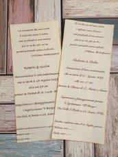 Partecipazione nozze pergamena grande avorio chiusa con cartoncino kraft