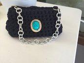 Borsetta blu con pietra turchese