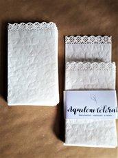 20 sacchetti   cuore confettata portariso in carta bianca traslucida