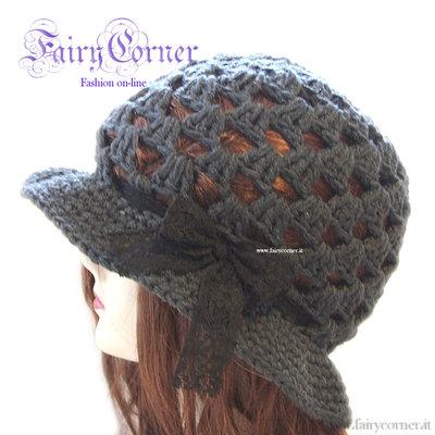 berretto cappello donna antracite pizzo nero