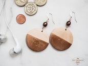 Orecchini pendenti bronzo metallizzato, orecchini in legno, oro rosa e rame, monachella nickel free