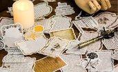 """Stickers in carta tipo pergamena """"tempo di poesia"""" st280"""