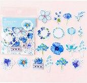 Stickers fiori colore blu st288