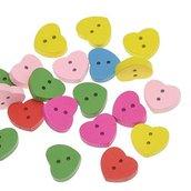 100 Bottoni rotondi in Legno a 2 Fori con Fiori 1,5 cm