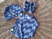 Set neonato cappellino scarpine e copri pannolino a uncinetto