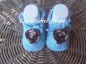 Scarpine  neonato realizzate a uncinetto