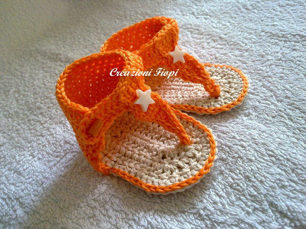 Infradito Neonato Fatte A Mano Alluncinetto Arancioni Bambini