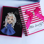 Collana Bambolina doll vestitino blu fimo necklace bambolina clay Kawaii  idea regalo clay