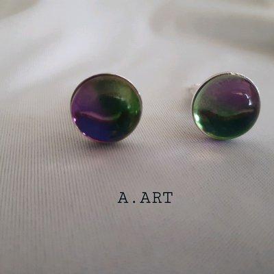 Gemelli per camicia con pietra effetto vetro verde e viola