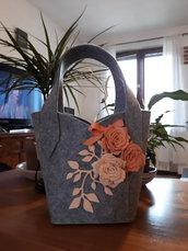 Borsa feltro e fiori