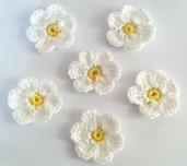 Fiori a uncinetto per applicazioni / Set di 6 fiori /Scrapbooking/Gialli & Bianco