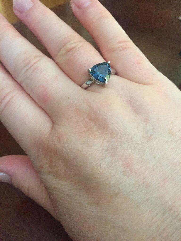 Anello in argento 925 con topazio azzurro