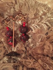 Orecchini con perle in fimo e perle corallo bambù