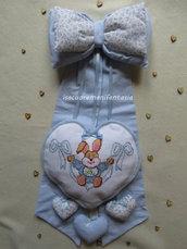 Fiocco nascita bimbo con cuore punto croce