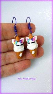 Orecchini gelato unicorno, orecchini estivi, gioielli per l'estate, orecchini kawaii, accessori unicorno, miniatura, regalo amica, moda