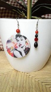 Orecchini, orecchini pendenti, orecchini Audrey Hepburn, orecchini swarovski, regalo, per lei, made in Italy, orecchini argento, nickel free