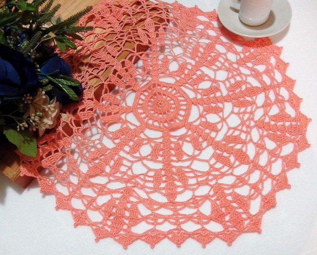 Centrino a uncinetto, grande centrotavola, pizzo, arredamento casa, 43 cm centro rosa arancio, centro grande
