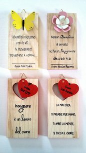 quadretto personalizzato in legno e decorazione in metallo o legno, regalo maestra - solo su ordinazione