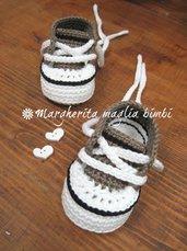 Scarpine/sneakers bambino cotone grigioverde/bianco/nero - fatte a mano - uncinetto