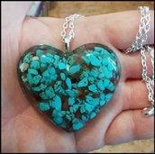Creazione Resina - Collana Catena Argento Cuore Pietre Turchese Cornalina - Turquoise Cornelian Heart Necklace