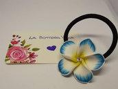Elastico Capelli Braccialetto Fiore Pasta Polimerica Azzurro Bianco Strass Hair Tie Bangle