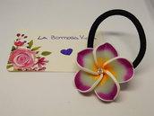 Elastico Capelli Braccialetto Fiore Pasta Polimerica Rosa Bianco Strass Hair Tie Bangle