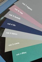 N. 10 fogli di cartoncino perlato formato A4 gr. 250 (bianco/argento/tiffany/crema)
