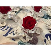 Tralcio fiore porcellana e cristallo con rosa eterna