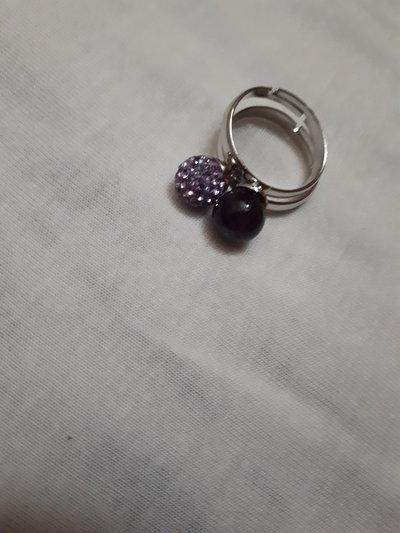 Anello affinity: perle di ametista e pavè viola