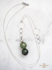 Collana con ciondolo di perle di Agata verde