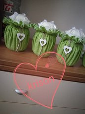 Barattoli sale/zucchero/caffè in vetro rivestiti stile shabby verde mela