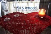 centrino / tovaglietta cuore rosso all'uncinetto punto filet artigianale