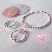 Anello elastico argento 925 e perla colorata