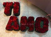 Scritta TI AMO polistirolo con glitter docorata Idea Regalo San Valentino Amore