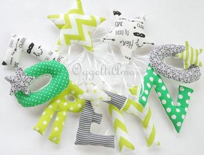 Un'idea regalo originale per decorare la cameretta di un bambino: una ghirlanda di lettere per celebrare la nascita, compleanno o battesimo di Lorenzo