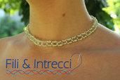 collana a collare di perline di vetro handmade
