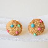Orecchini Cookies americani con confetti colorati - Orecchini biscotti in miniatura - Orecchini a lobo fatti a mano