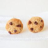 Orecchini Cookies con goccie di cioccolato - Orecchini a lobo biscotti in miniatura - Orecchini artigianali