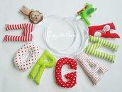 Un'idea regalo originale per la nascita, battesimo, compleanno di Morgana: una ghirlanda di lettere imbottite per decorare la sua cameretta con il suo nome nelle tonalità del verde e rosso