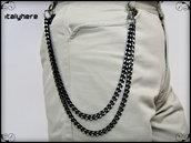 Catena decorativa per pantaloni uomo, doppia catena nera diamantata cm.55