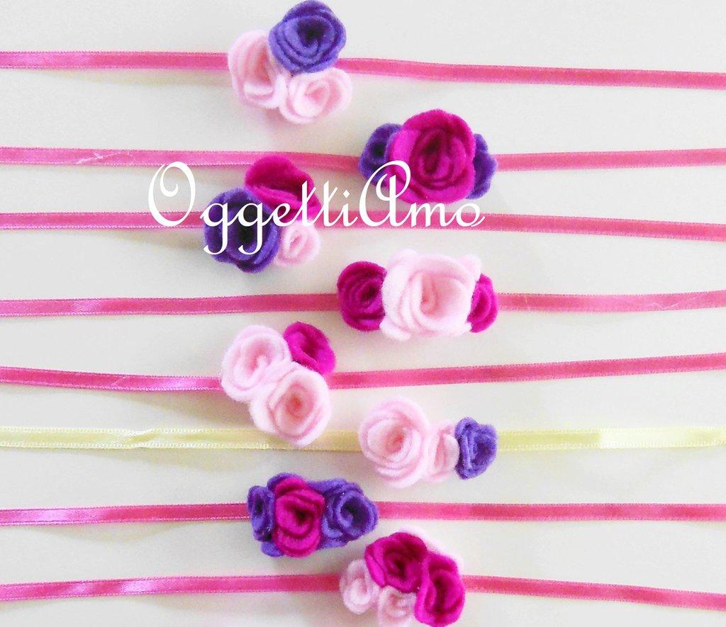10 Natri decorati con fiori di feltro: braccialetti, decorazioni per codini, idee regalo per il compleanno della vostra bambina!